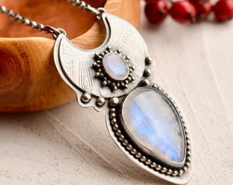Boho Style Rainbow Moonstone Necklace, Silver Crescent Moon Jewelry, Textured Silver Pendant, Hand Fabricated Metalwork