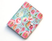 Vinyl Passport Case - Pastel Floral Blue / traveller, floral, peony, peonies, flowers, pretty, passport, vinyl, gift, woman's, wallet