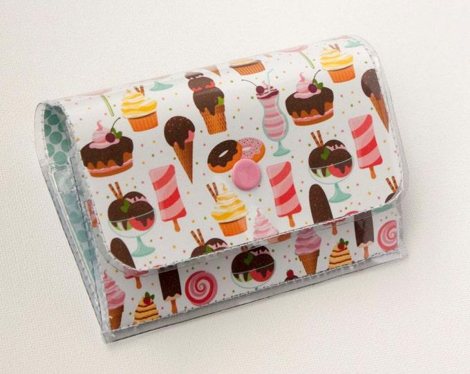 Handmade Vinyl Accordion Wallet - Ice Cream and Sweets / small wallet, snap, cute, card case, vinyl wallet, women's wallet, cupcakes, baker