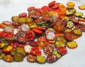 "Handmade Glass Lampwork disc disk Beads, ""yellow and orange"" filler focal glass art"