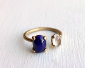 Lapis Lazuli and Moonstone Ring in Brass Dual Ring by Rachel Pfeffer