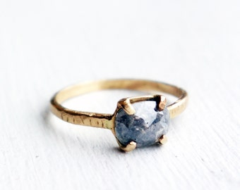 Stormy Gray Natural Rose Cut Diamond Ring with Recycled 14k Gold Band