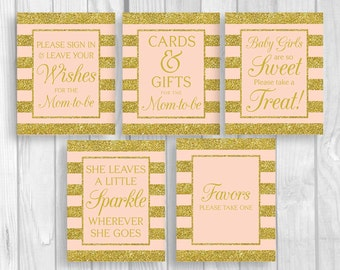Pink and Gold Glitter Stripes Printable Baby Shower Sign Bundle - Guest Book, Gift Table, Favor Table and More - Instant Download