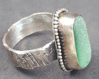 Sea Glass Jewelry Teal Sea Glass Ring Teal Beach Glass Ring Sea Glass Jewelry Size 10 1/2 - R-144