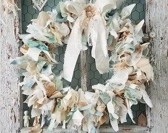 Blue Skies- Abandoned Vintage Burlap, Lace and Fabric Rag Shabby Chic Wreath