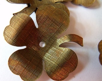 ON SALE 18% off Shamrock or Dogwood Blossom 34mm Textured Brass Stampings 4 Pcs