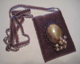 Hand beaded Business Card/Credit Card Necklace in Purple