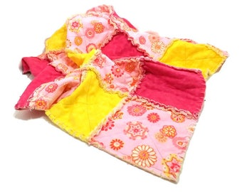Flannel Hippie Flowers Rag Quilt Hot Pink Neon Yellow