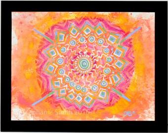 Original Expressive Mixed Media Mandala Painting: Tribal Ground