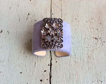 Lavender Adjustable Cuff with Silver Petals and Pale Blue Rhinestones