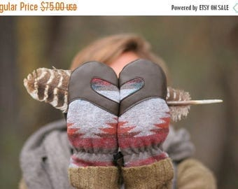SALE Mittens| Wool and Leather Mittens | Trail Mitten | Blanket Wool and Deerskin leather mitten