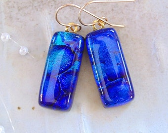 Dichroic Earrings, Fused Glass, Dangle, Gold Filled, Blue, Aqua, A13