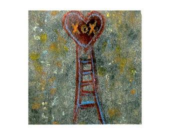 True Romance - Heart Art - Unique Mini Wall Art - Mixed Media Assemblage - Celebratory - Valentine - Love Note - Wedding Art