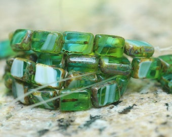 Green Lime White Mix Transparent Opaque Picasso Table Cut Rectangle Czech Glass Beads ~ 20 beads