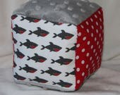 Sharks and Polka Dots Chenille Block Rattle Toy