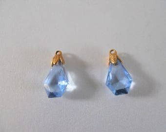 Pair Vintage Blue Glass Drops