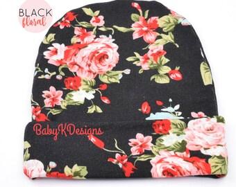 Black baby Hat. Newborn Hat. Baby Girl Hat.  Newborn Headband. Hospital Hat for Baby. Baby Girl TOP KNOT Headband or Hat. Baby Girl Beanie.