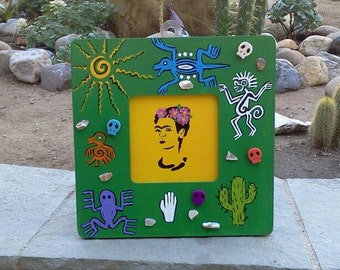Painted Frida Kahlo - Framed