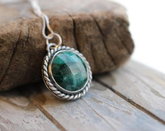 Emerald Sterling Silver Charm Necklace - May birthstone Jewelry