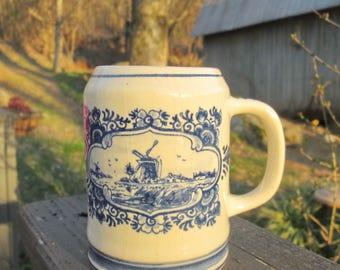 Vintage Blue Delft Mug - Holland Souvenir Mug - Hand Painted Blue Delft