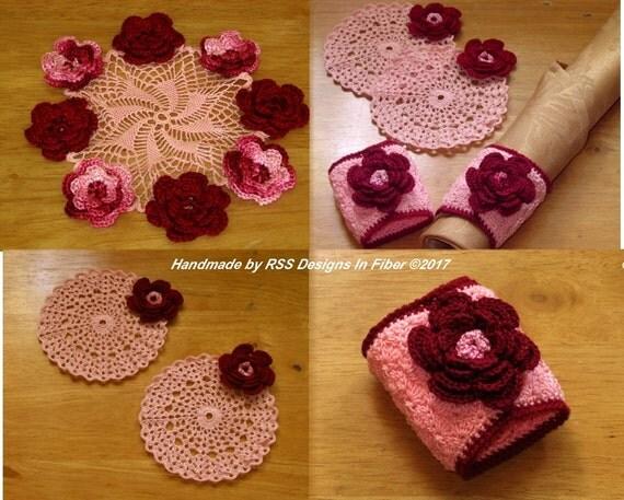 Red and Pink 3D Rose Decor Set - 3D Crochet Roses on a Doily, Coasters, Napkin Rings - Irish Crochet Decor - Crochet Doilies