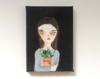 original small painting, canvas painting, mini painting, her plant