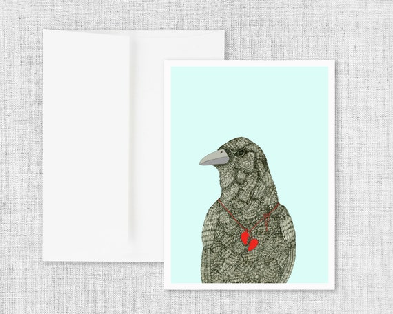 "raven drawing greeting card, modern greeting card, blank greeting card, greeting card set, black bird art, ink drawing, art - ""Broken Heart"""