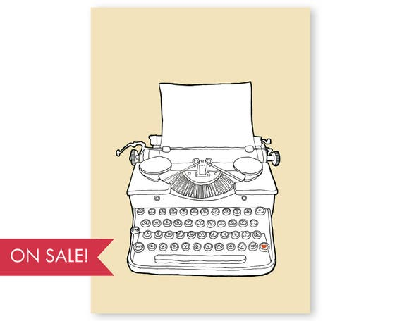 Typewriter No. 2 - large poster sized wall art, vintage typewriter wall art, colorful modern art prints, art sale, large wall art, large art