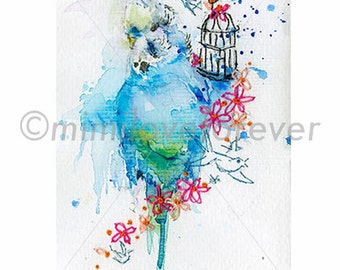 Budgie Art Print. Budgerigar Art. Watercolor Budgie Print. Bird Print. Budgies Wall Art. Budgie Parakeet.