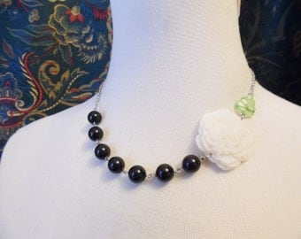 75% Off Sale, Ivory Peony Flower Necklace with Vintage Beads