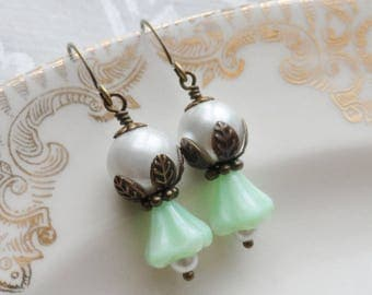 75% Off Clearance Sale, Czech Glass Earrings, Lily Blossom, Mint Green, Pearl