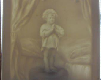 Vintage Porcelain Bisque Victorian Child Praying NightLight Victorian Tile Nightlight Childs Room/Nursery Nightlight