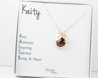 January Birthstone Personalized Gold Necklace With Custom Name Jewelry Card, January Birthday Jewelry, Personalized Gold Necklace #877