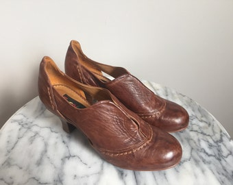 Clementine - Cognac Brown Leather Oxford Pumps. Size 6.5 - 6 1/2