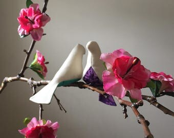 Two Bird Mobile Made With A Natural Tree Branch and Artificial Flowers