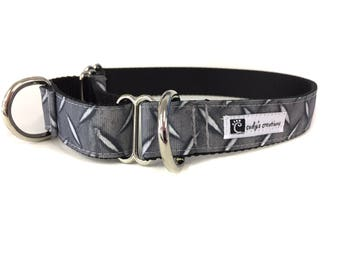 1 Inch Wide Dog Collar with Adjustable Buckle or Martingale in Diamond Plate