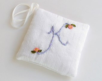 Letter K lavender sachet, silk ribbon embroidery initial, personalized hanging sachet, closet freshener