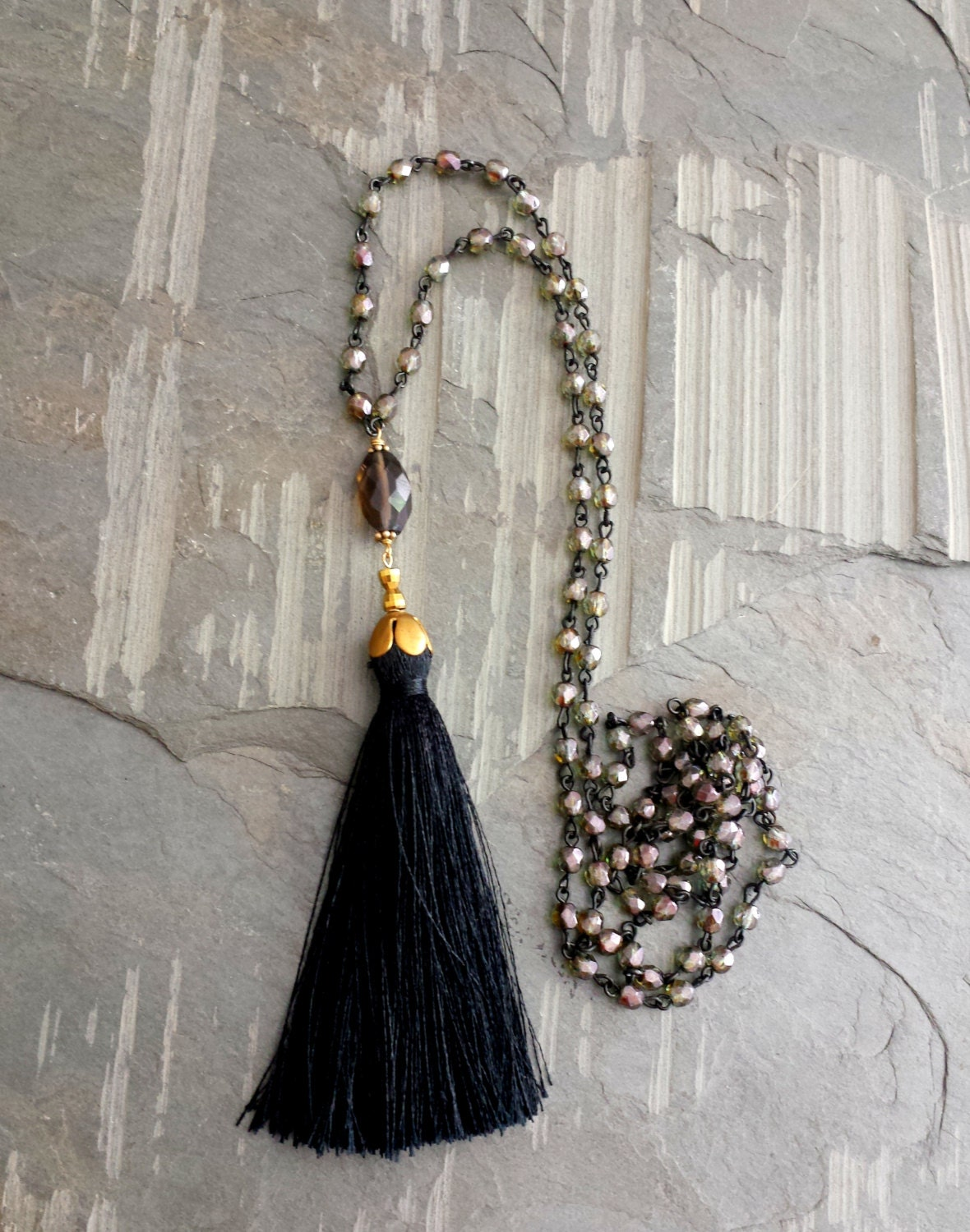long beaded tassel necklace boho jewelry black silk tassel. Black Bedroom Furniture Sets. Home Design Ideas