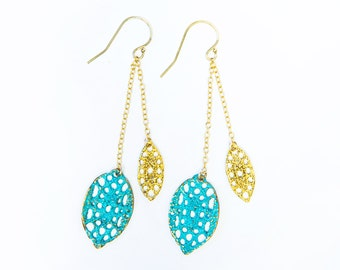 Large and small Lace pod double dangle earrings in verdigris blue patina and 14k yellow gold filled