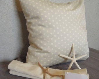 French Dots Grey Pillow Cover, 18x18, Toss Cushion, Gray, French Country, Polka Dot