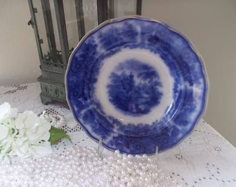 Sale---English Flow Blue Middleport  Pottery Burgess and Leigh soup bowl soup dish