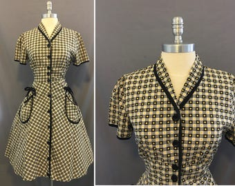 Vintage Paintset 1950's Cotton Print Day Dress with Black Piping