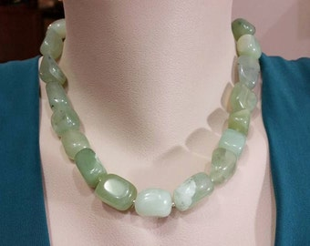New Jade Necklace - Nugget Statement Necklace, Seagreen Nugget Gemstone,  New Jade Necklace, Handmade Jewelry