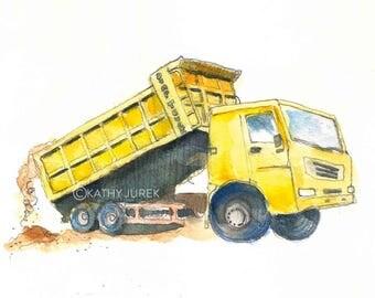 Yellow Dump Truck Print - Dump Truck Nursery Art - Construction Truck Print - Truck Wall Decor