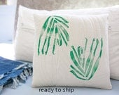 Printed Quilted Pillow Cover 12x12 Decorative Pillow Handprinted Botanic Handmade Toss Pillow Hostess Gift for Him or Her Gift Idea Under 50