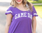 GAME DAY Shirt. Flutter Sleeved Sport Striped Tee. Wide Shouldered Shirt. Made in the USA. Several Colors Available. Women's Sports Shirt.
