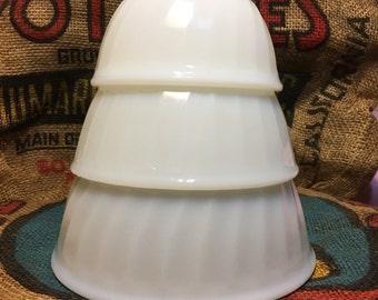 "Fire King Swirl Mixing Bowls, White, 5"", 6"", 7"""