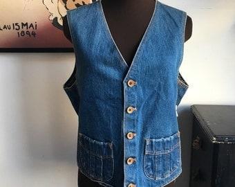 Vintage Denim Vest, Button Front Vest, Hippie Hipster Lumberjack Jean Vest