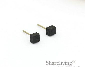 4pcs (2 pairs) Mini Square Wooden Stud Earring, Wood Cut Black Post Earring - WED006