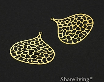 Exclusive - 4pcs Raw Brass Teardrop Round Charm / Pendant,   Filigree Teardrop, Fit For Necklace, Earring, Brooch  - TG317